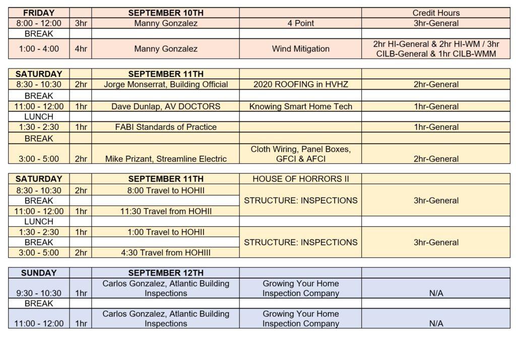 Florida inspector conference agenda fall 2021